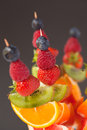 Fresh organic fruit kebabs Stock Photography