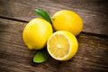 Fresh organic fruit - lemons on wood Stock Image