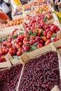 Fresh organic fruit from serbia on market stalks Stock Photos