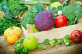 Fresh organic fruits and vegetables in a creates Royalty Free Stock Image