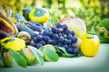 Fresh organic fruits and vegetables on a table Stock Photo