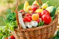 Fresh organic fruits and vegetables wicker basket is full of Royalty Free Stock Photography