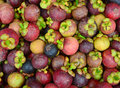 Fresh organic mangosteen fruits at the market Royalty Free Stock Photo