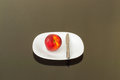 Fresh Organic Peach in a White Plate Royalty Free Stock Photo
