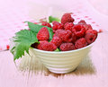 Fresh organic raspberry in a bowl Royalty Free Stock Photos