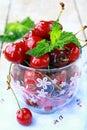 Fresh organic ripe black cherry Royalty Free Stock Photo