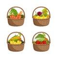 Fresh organic vegetable in wicker basket set