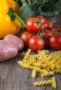 Fresh Organic Vegetable on wood table Royalty Free Stock Images