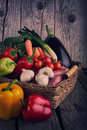 Fresh Organic Vegetable on wood table Royalty Free Stock Image