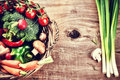 Fresh organic vegetables in basket. Healthy eating concept Royalty Free Stock Photo