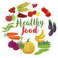 Fresh organic vegetables and fruits with healty food text