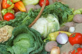 Fresh organic vegetables in a wicker basket Royalty Free Stock Photography