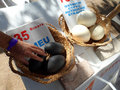 Fresh Ostrich and Emu Eggs For Sale Royalty Free Stock Photo