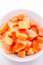 Fresh papaya slices on plate Royalty Free Stock Photo