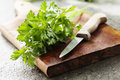 Fresh parsley bunch of on a wooden board Royalty Free Stock Photography