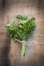 Fresh parsley on vintage wooden board Royalty Free Stock Photography