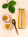 Fresh passion fruit and juice in the bottle . Royalty Free Stock Photo