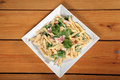 Fresh pasta with bacon Stock Image