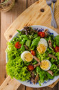 Fresh pasta egg salad Royalty Free Stock Photo