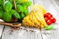 Fresh pasta and italian ingredients Royalty Free Stock Photo