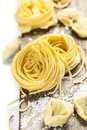 Fresh pasta making homemade on wooden table Stock Photography