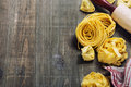 Fresh pasta making homemade on wooden table Royalty Free Stock Photography