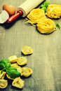 Fresh pasta making homemade on wooden table Royalty Free Stock Photo