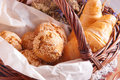 Fresh pastries in a basket Royalty Free Stock Photo
