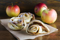 Fresh pastry with apples freshly baked rolls Stock Photo