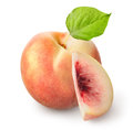Fresh peach isolated on a white background Stock Photo