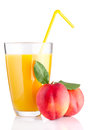 Fresh peach juice in glass isolated on white background Stock Image