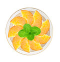 Fresh peach slices and mint herb in plate isolated on white Royalty Free Stock Photo