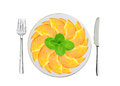 Fresh peach slices and mint on white plate, spoon and fork Royalty Free Stock Photo