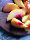 Fresh peach slices ripe of summer peaches Royalty Free Stock Photography