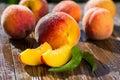 Fresh peaches, Peach close up fruit background, peach on wood ba
