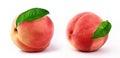 Fresh peaches   white background Royalty Free Stock Photo