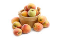 Fresh peaches in wooden box Royalty Free Stock Photo