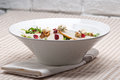 Fresh pears arugula gorgonzola cheese salad with cranberry and walnuts Royalty Free Stock Image