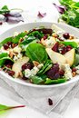 Fresh Pears, Blue Cheese salad with vegetable green mix, walnuts, cranberry. healthy food Royalty Free Stock Photo