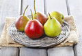 Fresh pears on wicker tray Royalty Free Stock Photo