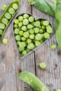 Fresh peas portion of harvested on wooden background Stock Image