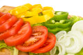 Fresh pepper tomatoes and onion sliced Stock Images