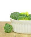 Fresh pieces of broccoli a bowl on wooden table with white background Royalty Free Stock Image