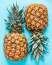 Fresh pineapple cut in half Royalty Free Stock Photo