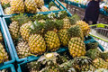 Fresh pineapple for sell in supermarket Royalty Free Stock Photo