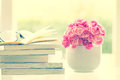 Fresh pink carnation flower with books background Royalty Free Stock Photo