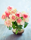 Fresh pink roses on a table Stock Photography