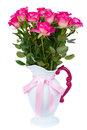 Fresh pink roses in vase isolated on white background Royalty Free Stock Photos