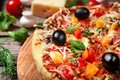 Lahmacun turkish gourmet pizza with minced beef or lamb meat, paprika, tomatoes
