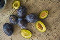 Fresh plums many delicious blue closeup photo with copy space Stock Photos
